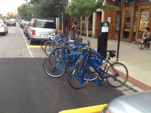 Street bike rack in front of Cheetah Gym.  Credit: Jeremy Bressman