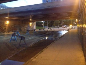 Foster / Lakeshore drive underpass Wednesday evening. Credit: Jeremy Bressman