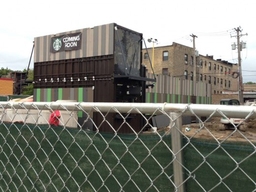 Progress of Devon/Broadway Starbucks being constructed out of railcars.  Credit: John P Glynn / Facebook