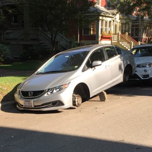 Edgewater Cars With Stolen Tires Left Balancing On Blocks, Hondas At