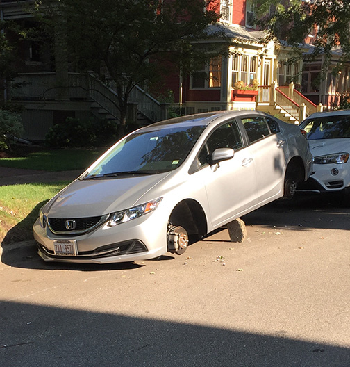 Honda Civic Tires >> Edgewater Cars With Stolen Tires Left Balancing On Blocks ...